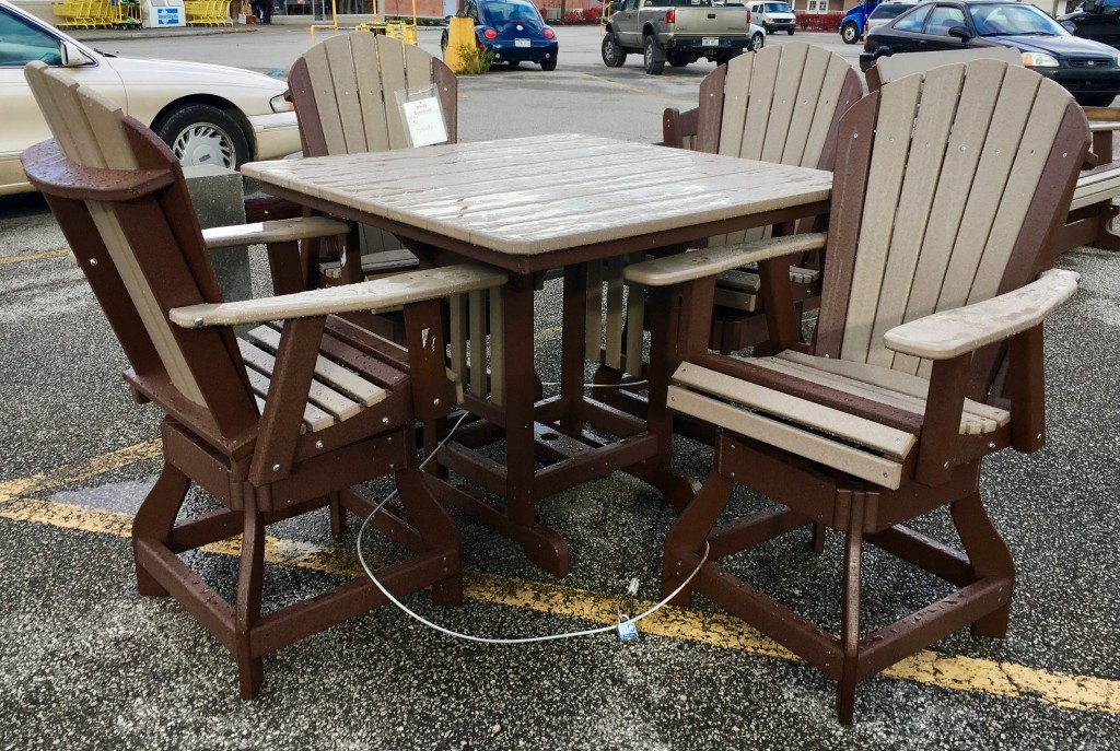 Poly 44 Square Counter Height Table And Adirondack Swivel