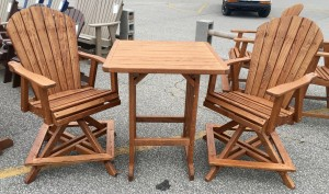 3 Piece Swivel Adirondack Balcony Table and Chair Set - $519.00 Stained, $399.00 Unfinished