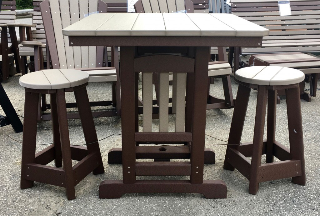 Poly 33 Square Counter Height Table And Round Bar Stool