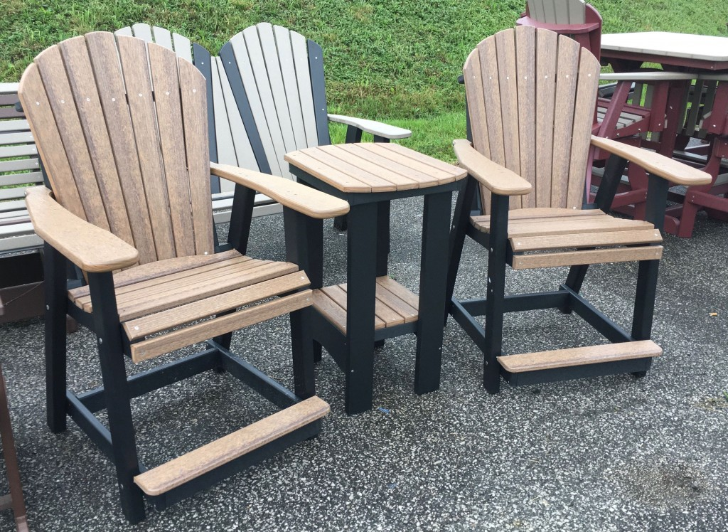 Poly Adirondack Counter Height Table And Chair Set In