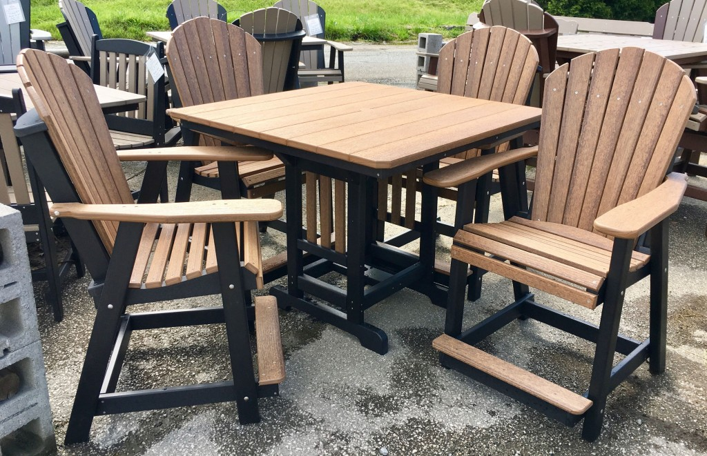 Poly 44″ Square Counter Height Table and Adirondack Chair