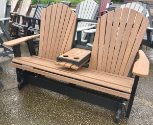 Poly 5′ Adirondack Glider with Fold Down - $719.00 in Standard Poly Colors, $789.00 As Shown in Antique Mahogany