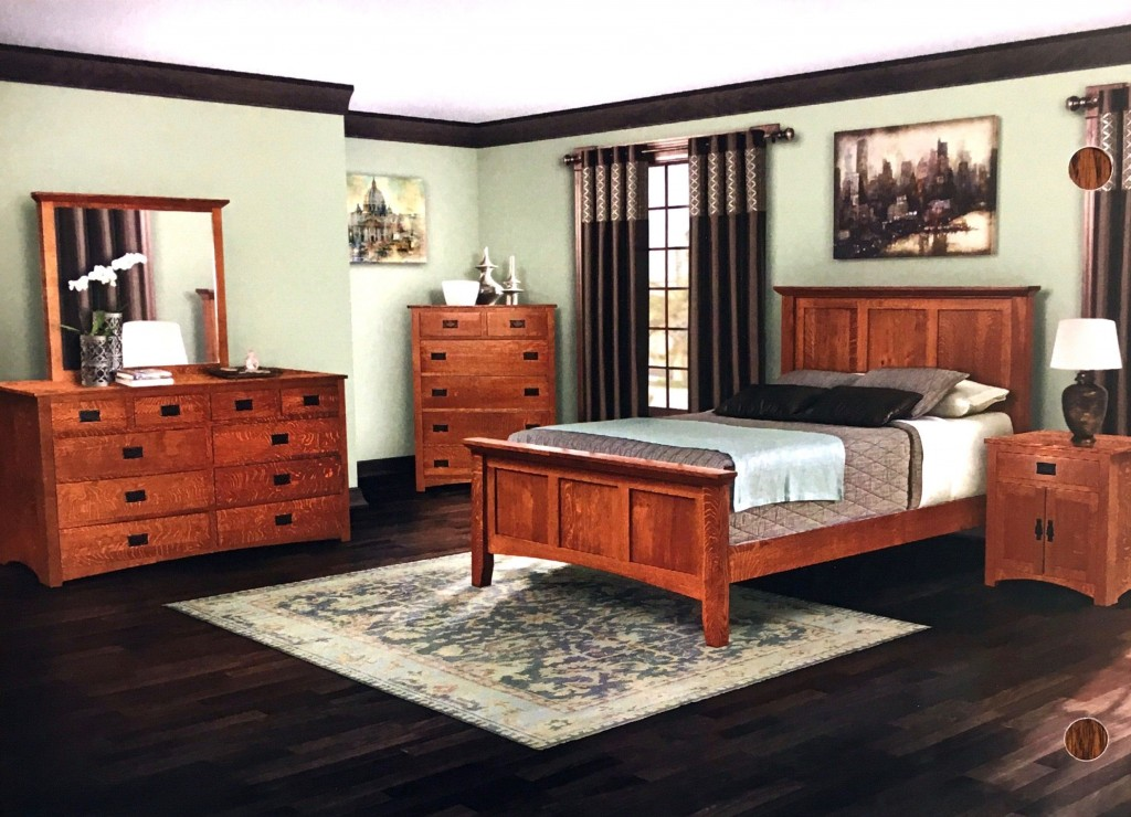 Amish Mission Bedroom Set with Crown Panel Bed