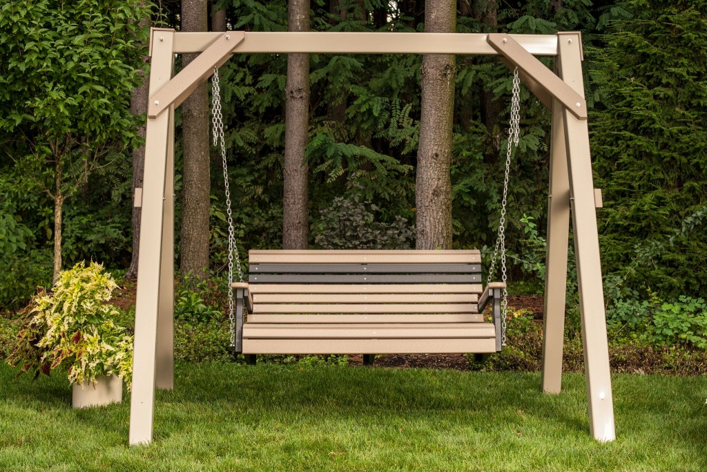 4' Plain Poly Swing in Weathered Wood and Black