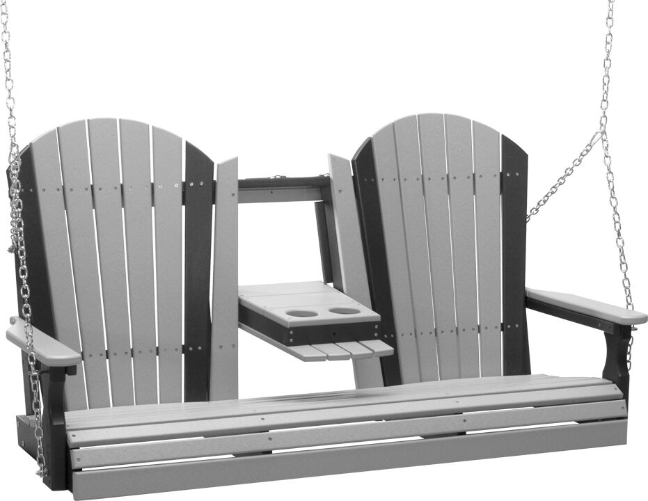 5' Adirondack Poly Swing in Dove Gray and Black - $669.00 in Standard Colors + Shipping