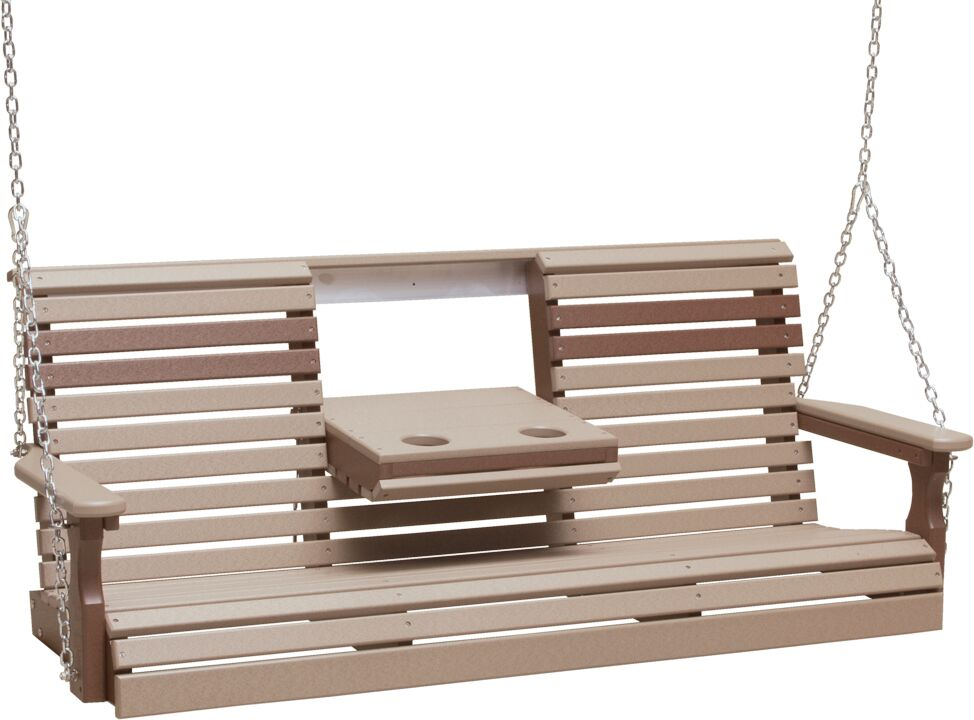5' Plain Rollback Poly Swing in Weathered Wood and Chestnut Brown - $599.00 in Standard Colors + Shipping