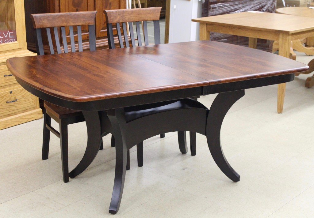 Galveston Double Pedestal Table In Rustic Cherry And Two