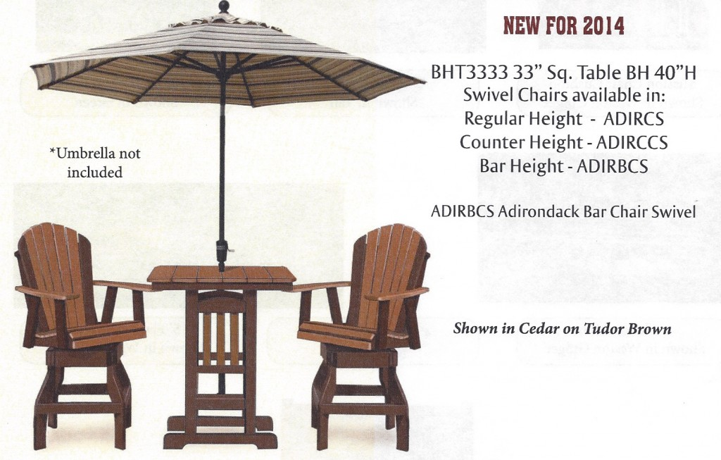 Poly 33 Square Bar Height Table And Adirondack Swivel Stool Set
